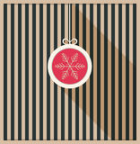 Abstract Card With Hanging Christmas Ball, Retro Stripes And Long Shadow Stock Photography