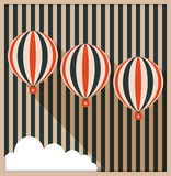 Abstract Card With Hot Air Balloons, White Cloud, Background Made Of Stripes. Abstract Card With Hot Air Balloons, White Cloud, Background Made Of Retro Stripes Stock Image