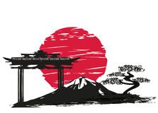 Abstract card with Japanese landscape. Vector Illustration Royalty Free Stock Photo