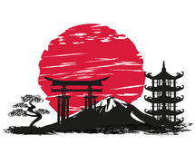 Abstract card with Japanese landscape. Vector Illustration stock illustration