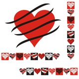 Abstract card. With red, black and white hearts with stripes Stock Illustration