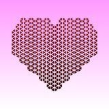 Abstract  card with red heart made of triangles. A mosaic heart Valentine s Day, I love you. paper cut. 10eps Royalty Free Stock Photos