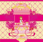 Abstract card with saleswoman of ice cream Royalty Free Stock Photos