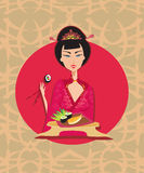 Abstract card with sushi and geisha Stock Images