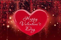 abstract card valentine St在金黄背景的华伦泰的标志 3d红色的现实例证设计观念 库存例证