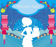 Abstract card - winter sale Stock Photo