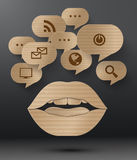 Abstract cardboard design of bubble speech. Royalty Free Stock Image