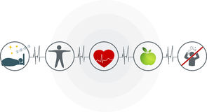 Abstract cardiogram. And health care symbols connected. Healthy heart depends of good sleep, fitness, healthy food and stress management Royalty Free Stock Photography