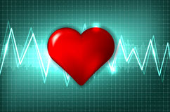Abstract cardiogram and heart Stock Photos