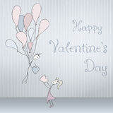 Abstract cards with hand drawn pair with balloons, scribble font, folded. Valentines day Stock Image