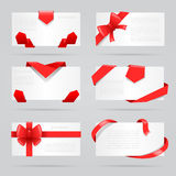 Abstract cards red gift bows ribbons set vector illustration Stock Images