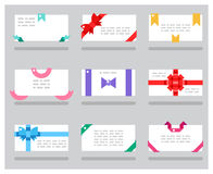 Abstract cards red gift bows ribbons set vector illustration Stock Photography