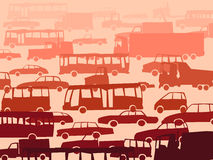 Abstract cartoon background with many cars. Stock Images