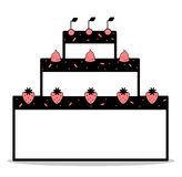 Abstract cartoon black white pink cake with strawberries cherries and whipped cream illustration Royalty Free Stock Photo