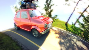 Abstract cartoon car traveling with a roof rack on a mountain road. 3d illustration Royalty Free Stock Photography
