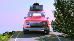 Abstract cartoon car traveling with a roof rack on a mountain road. 3d illustration stock video footage