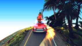 Abstract cartoon car traveling with a roof rack on a mountain road. 4k animation 3d render stock video footage