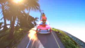Abstract cartoon car traveling with a roof rack on a mountain road. 4k animation 3d render stock video