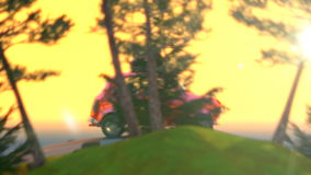 Abstract cartoon car traveling with a roof rack on a mountain road on sunset. 4k animation 3d render stock video