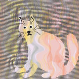 Abstract cartoon cat on canvas background Stock Photo