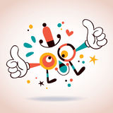 Abstract cartoon character mascot thumbs up Stock Images