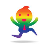 Abstract cartoon character in rainbow color Stock Photo