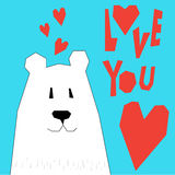 Abstract cartoon funny bear. Love theme. Valentine's day or wedd Royalty Free Stock Photo