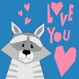Abstract cartoon funny raccoon. Royalty Free Stock Image