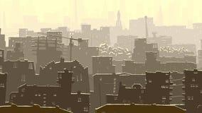 Abstract cartoon illustration of big snowy city. Stock Photo