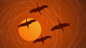 Abstract cartoon illustration flock of cranes. Royalty Free Stock Photos
