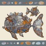 Abstract Cartoon Sea Fish. Stock Image