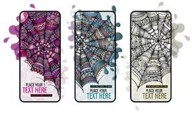 Abstract cartoon spider web background set. Abstract cartoon spider web background banners set Stock Photography