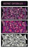 Abstract cartoon spider web background set. Abstract cartoon spider web background banners set Royalty Free Stock Photography
