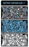 Abstract cartoon spider web background set. Abstract cartoon spider web background banners set Royalty Free Stock Photos