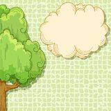 Abstract cartoon tree with cloud for your text. Abstract cartoon tree with cloud place for your text on green background. Vector illustration Royalty Free Stock Photos