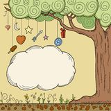 Abstract cartoon tree with place for your text royalty free illustration