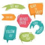 Abstract cartoon trendy design speech bubbles and signs with dummy phrases. Flat style modern vector Royalty Free Stock Photos