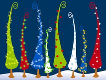 Abstract Cartoonish Christmas Trees 3. An abstract clip art illustration of tall cartoonish Christmas trees in the snow royalty free illustration