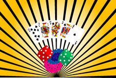 Abstract casino background. High resolution ten to Ace royal flush of spade with dices and casino chips on background Stock Images