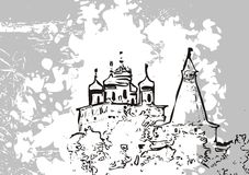 Abstract castle drawing. An abstract pen and ink drawing of a castle on a grunge gray background Royalty Free Stock Photos