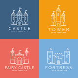 Abstract Castle Line Style Vector Logo Template Stock Photos