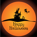 Abstract castle. Abstract magic castle and witch silhouette on special halloween background royalty free illustration