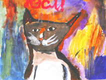 Abstract cat. A childrens work Stock Photos