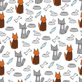 Abstract cat and dog background. Pets and bowls of food Stock Image