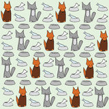 Abstract cat and dog background. Pets and bowls of food Stock Images