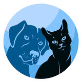 Abstract cat and dog circle Stock Images