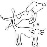 Abstract Cat and Dog Line Art Royalty Free Stock Photos