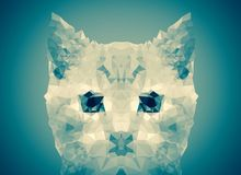Abstract cat face blue  low poly bokeh wallpaper Stock Photography