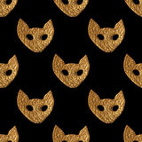 Abstract cat face pattern. Gold hand painted seamless background. Stylized animal illustration Stock Photography