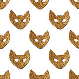 Abstract cat face pattern. Gold hand painted seamless background. Stylized animal illustration royalty free illustration